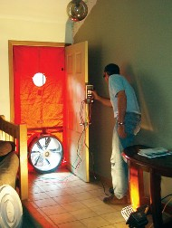 Blower door testing and air infiltration testing.