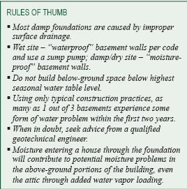 Rules of thumb for damp foundations
