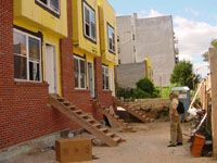 Habitat for Humanity NYC rowhouse under construction.